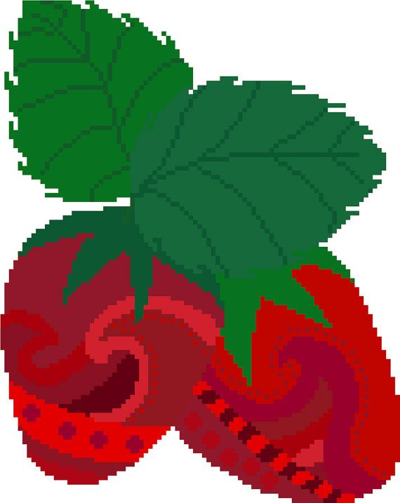 Gorgeous pair of strawberries. Contemporary cross stitch design by crossstitchtheline Detailed and beautiful, this cross stitch pattern will bring you hours of fun.