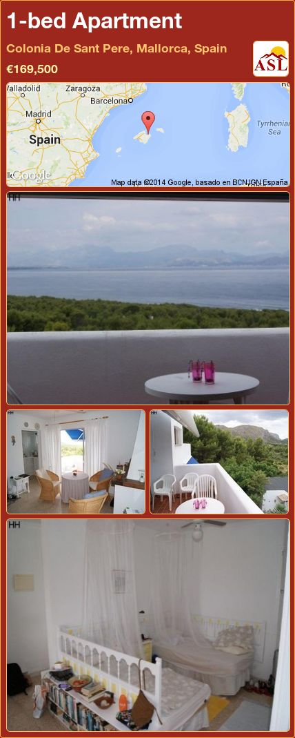 1-bed Apartment in Colonia De Sant Pere, Mallorca, Spain ►€169,500 #PropertyForSaleInSpain