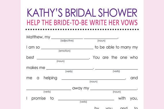 Printable Bridal Shower Libs