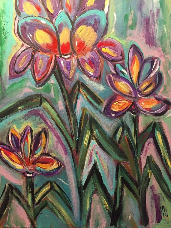 flowers in bloom by PaintingsbyMandyCos on Etsy
