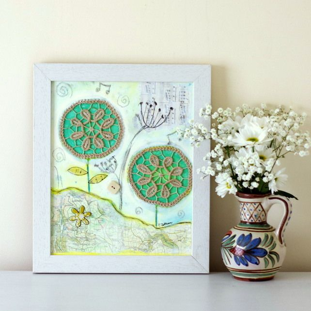 Mixed Media Painting, Framed Rustic Style Artwork, Shabby Chic Art with Doily £89.00