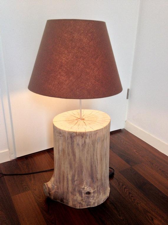 lampe rondin de bois avec abatjour faite main par nemoetpoca plus - Rondin De Bois Deco