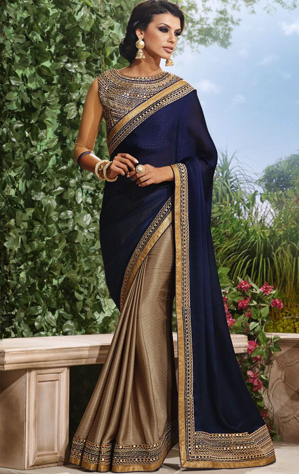 copper and navy blue sari with this blouse