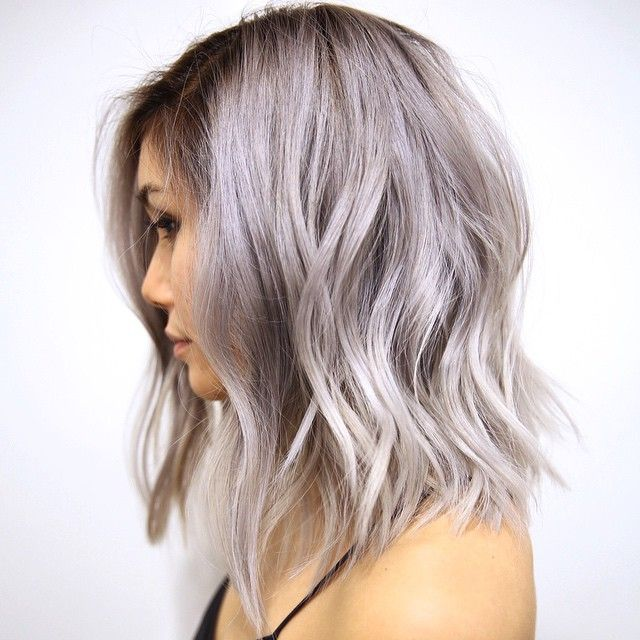 textured lob via Mizz Choi Instagram Beauty: Fantasy Unicorn Purple Violet Red Cherry Pink Bright Hair Colour Color Coloured Colored Fire Style curls haircut lilac lavender short long mermaid blue green teal orange hippy boho ombré woman lady pretty selfie style fade makeup grey white silver Pulp Riot