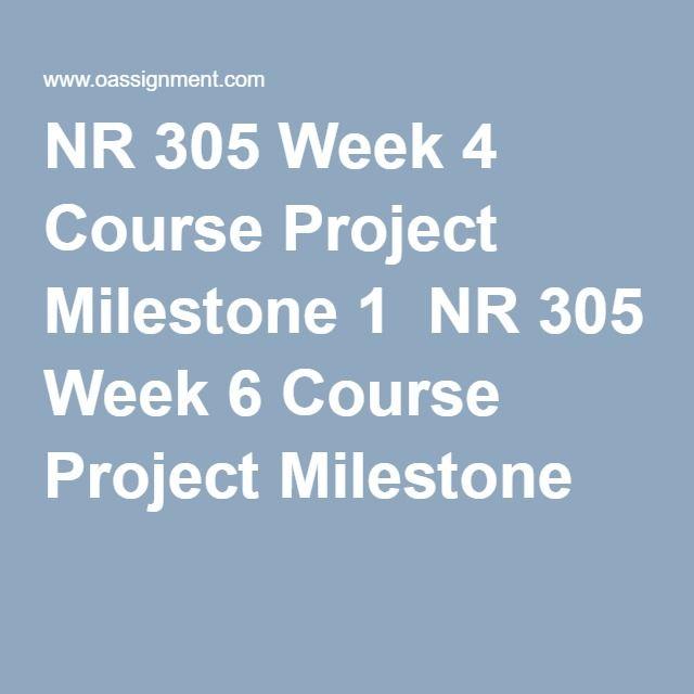 NR 305 Week 4 Course Project Milestone 1  NR 305 Week 6 Course Project Milestone 2