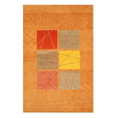 Eorc 18486 Hand Knotted Wool Gabbeh Rug, 6' x 9'2, Rust, Red