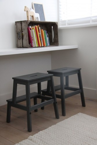 Simple creative space for children - love the painted Ikea step stools - genius idea!