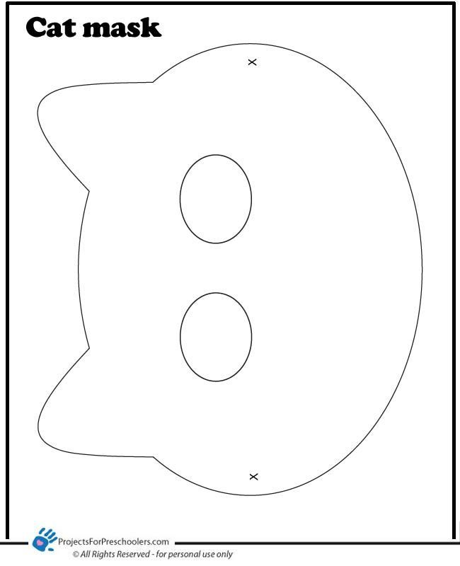 Cat Face Template Color Page For Kids Cat Mask Coloring Page Theme