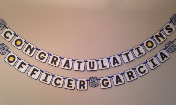 """Police theme Congratulations Banner and """"Coffee and Donuts"""" sign by MyBabyShowerBoutique"""