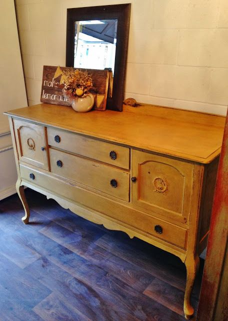 Yellow Milk Painted Antique Buffet - $450