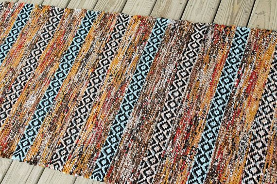 Hand Woven Rag Rug Runner, 31x74, Swedish Rose Path Rug, Cottage Rag Rug, Cotton Area Rug, Kitchen Rag Rug, Farmhouse Rug, Woven Bath Mat
