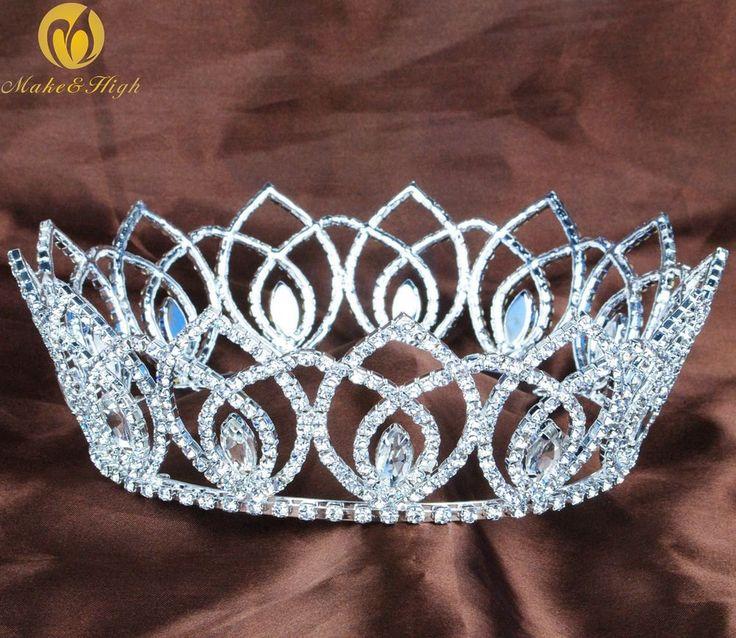 Majestic Wedding Round Crowns Princess Tiaras Rhinestones Crystal Pageant Party #Tiara