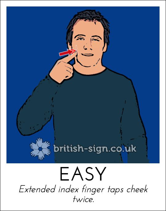 Today's British Sign Language sign is: EASY (also means soft) - learn more at www.british-sign.co.uk #BSL #BritishSignLanguage