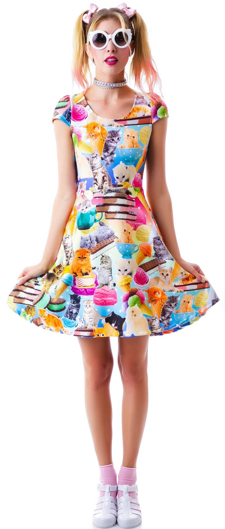 Japan L.A. Kittens and Ice Cream Cap Sleeve Dress | Dolls Kill