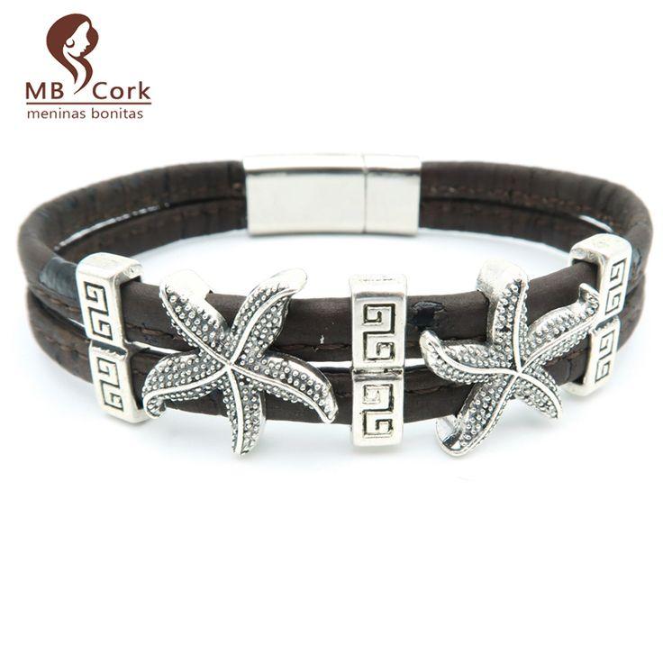 MB Cork starfish Bracelet Sea star charm summer nautical jewelry magnet clasps  Brown women men  bracelet handmade   Br-59