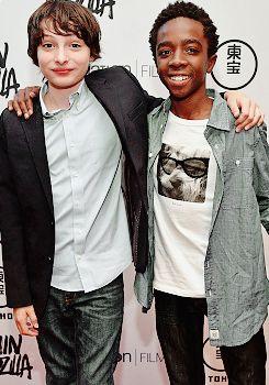 Finn Wolfhard & Caleb McLaughlin at the Shin Godzilla premiere in NYC