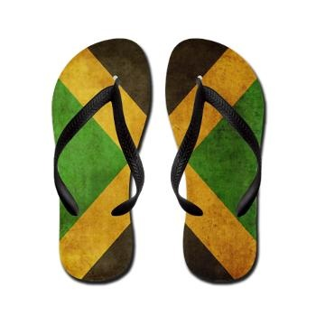 Jamaica Flag Flip Flops by JunkyDotCom at Cafepress $17. I had flip flops like this!