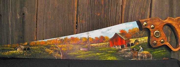Painted Saws With Country Scenes | ... Country » Shop Online » Saw Blades » Handsaws » Farm scene Handsaw