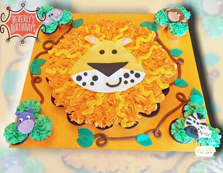 Lion Cupcake Cake for a jungle safari themed party for Beverly's Birthdays in Pittsburgh