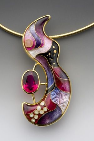 Pendant ~ Enamel, 18k, 22k, and 24k gold, fine silver, and rubellite ~  One-of-a-kind