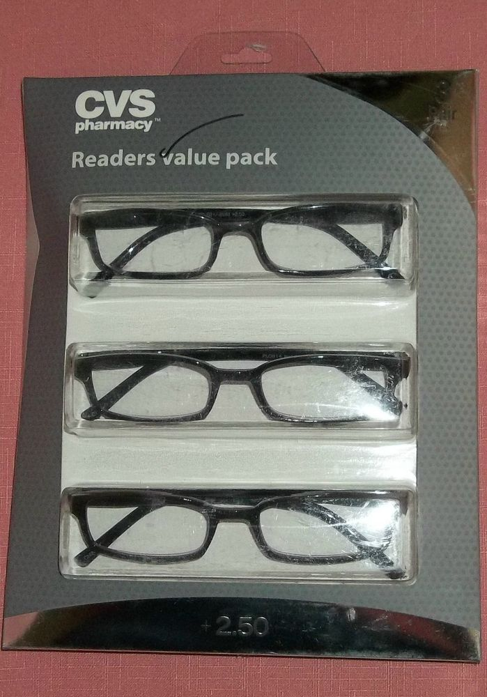 c997685509a2 CVS Readers Value Pack 3 Pair Black Acrylic Rectangular Reading Glasses  +2.50 07 #CVSPharmacyReadersValuePack #Rectangular