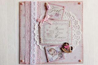 Beccapysslar: Rosa baby kort i 15x15 cm storlek