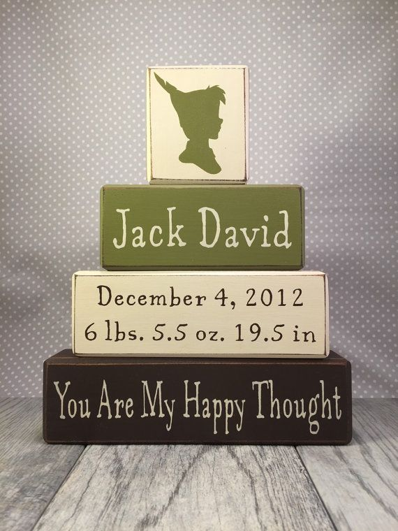 Block signs Peter Pan nursery decoration, personalized name and birth stats, sign blocks primitive wood blocks stacking painted blocks