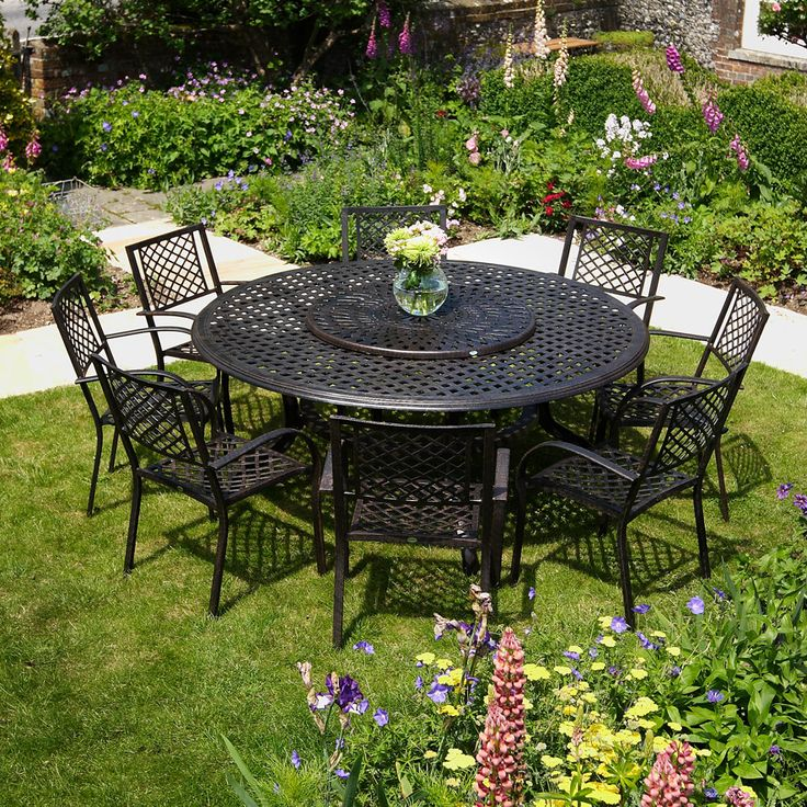 discover the beautiful maisie round 8 seater garden furniture set from lazy susan metal garden furniture experts since - Garden Furniture Metal