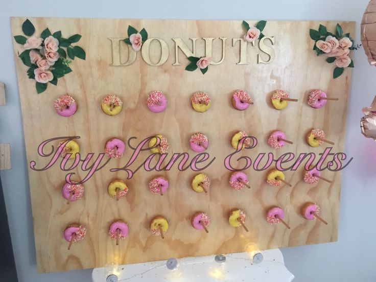 Ivy Lane Events Donut wall. Pink for a girl! Sarah's baby shower. Donuts. Boho.