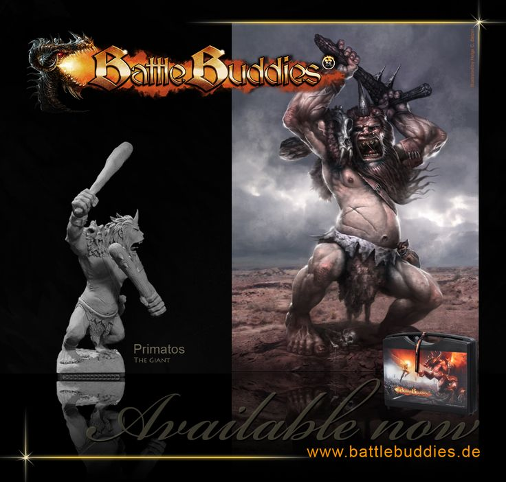 Primatos - the giant - #collectable #miniature #sculpture #figure #figurine #model #resin #handmade #fantasy #28mm #50x50base #creature #critter #BattleBuddies #sculpting #monster illustration by helge c. balzer - BattleBuddies is a registered trademark - all rights reserved
