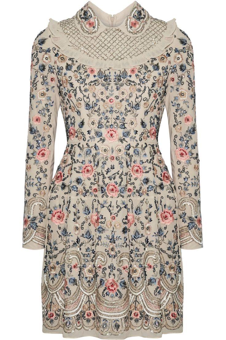 Needle & Thread | Whisper tulle-trimmed embellished chiffon mini dress | NET-A-PORTER.COM