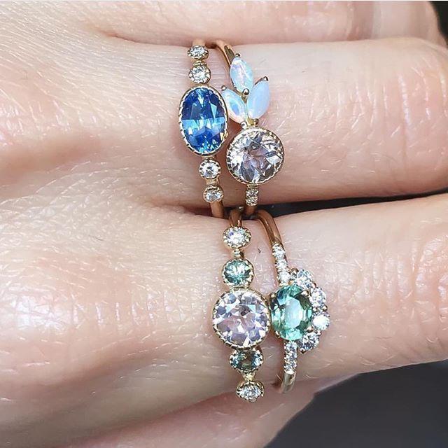244 best jennie kwon designs images on pinterest jennie kwon morganite green sapphire diamond dew ring aloadofball Image collections