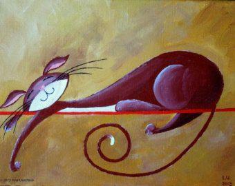 Original Fantasy Cat Acrylic Painting for Sale por NaturelandsAndCo