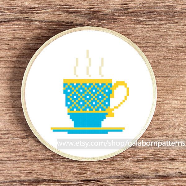 PDF counted cross stitch pattern - Instant download - Vintage blue coffee cup by galabornpatterns on Etsy https://www.etsy.com/listing/154670895/pdf-counted-cross-stitch-pattern-instant