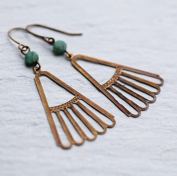 Art Deco Turquoise Earrings Egyptian Earrings Boho Earrings
