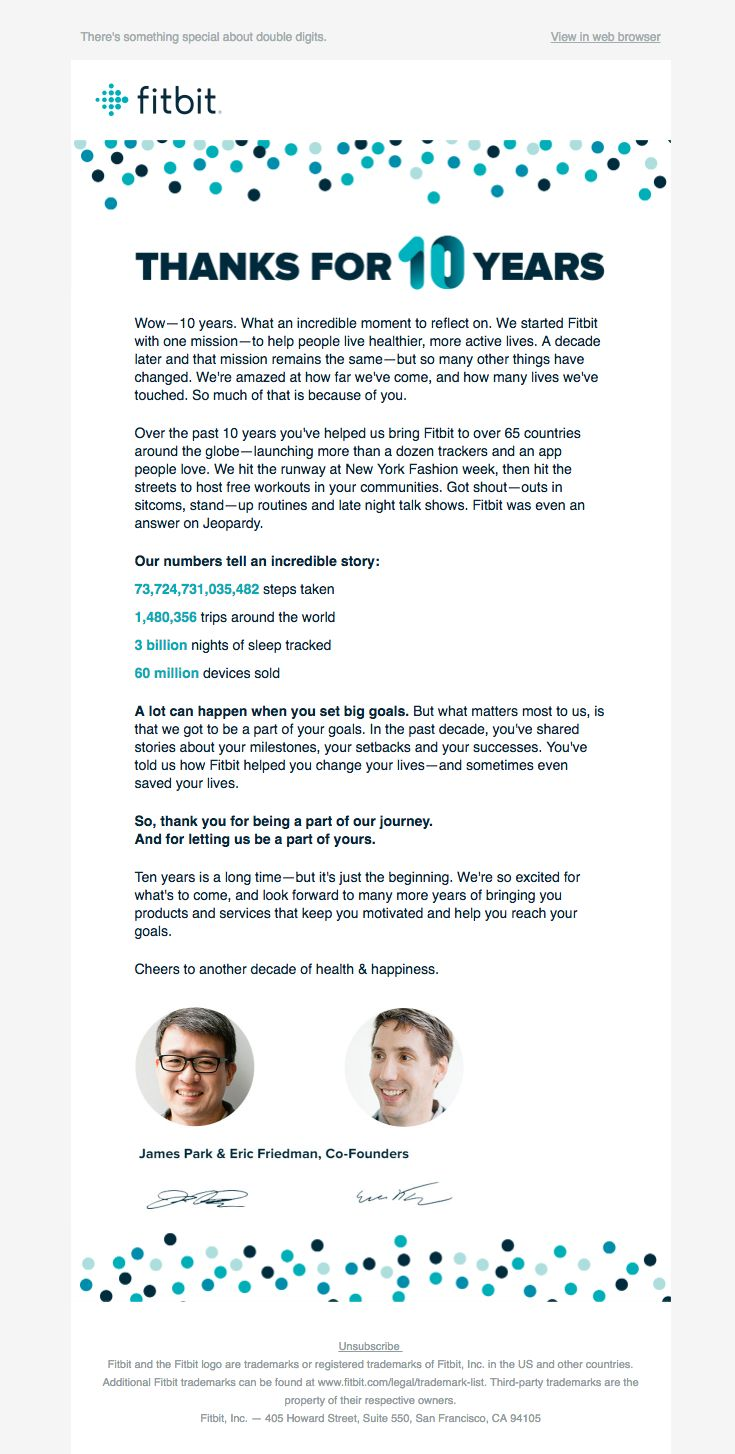@fitbit sent this email with the subject line: Fitbit is 10: A note from our founders - Read about this email and find more customer appreciation emails at ReallyGoodEmails.com #customerappreciation #exercise #fitness #thankyou