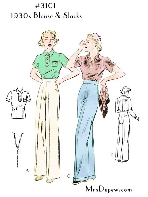 1930s Ladies' Blouse and Slacks #3101. Vintage sewing pattern reproduction for wide leg trousers and top.