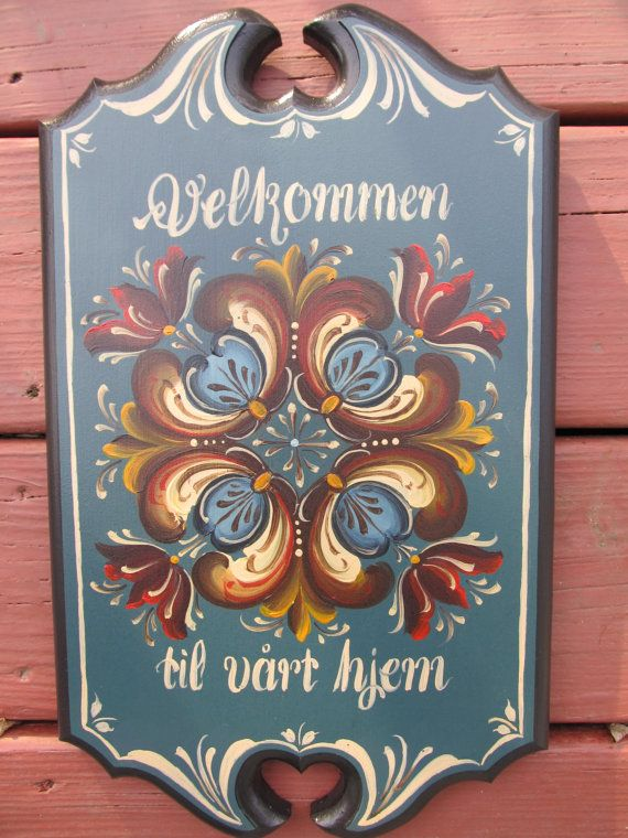 Norwegian Rosemaling on a Wooden Plaque, with Romdal Style Rosemaling and Norwegian Welcome