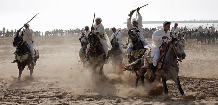 Horse ridders fantasia festival Essaouira