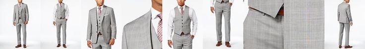 Michael Kors Men's Classic-Fit Light Gray Glen Plaid Vested Suit