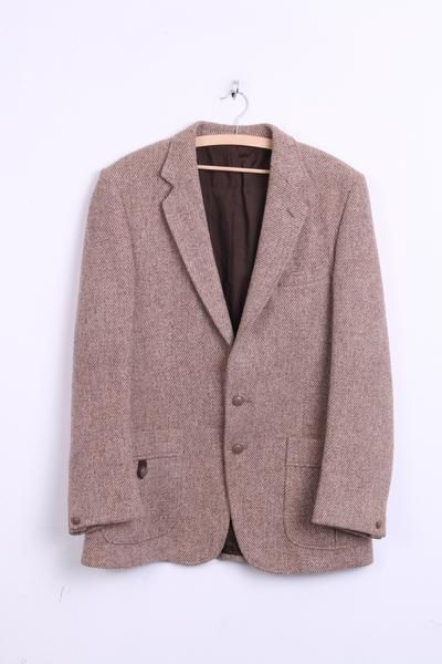 Dunn Co. Mens XL Blazer Jacket Wool Brown Harris Tweed - RetrospectClothes