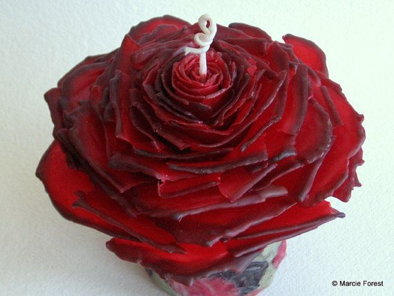 Rose Candle Gift Set, Mothers Day, Wedding, Home Decor - Red & Black Pillar, Tapers - Beeswax, Roses - Unique Candles by Marcie Forest