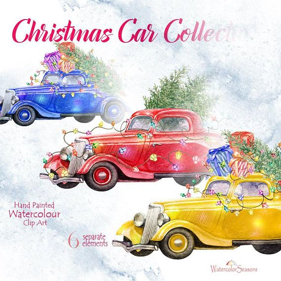 Christmas Car Collection Watercolor Hand Painted Clip Art