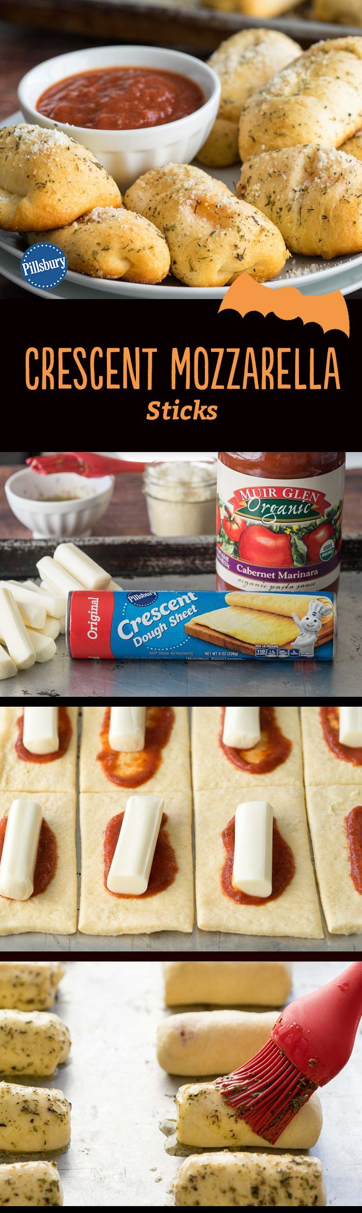 Hosting a trick-or-treat party? These crazy-good Crescent Mozzarella Sticks are easy-to-make and kid-friendly, too. Serve with a side of marinara sauce for dipping, or even add a few pepperoni slices for an extra flavorful touch. The best part? This easy dinner is ready in just 30 minutes.