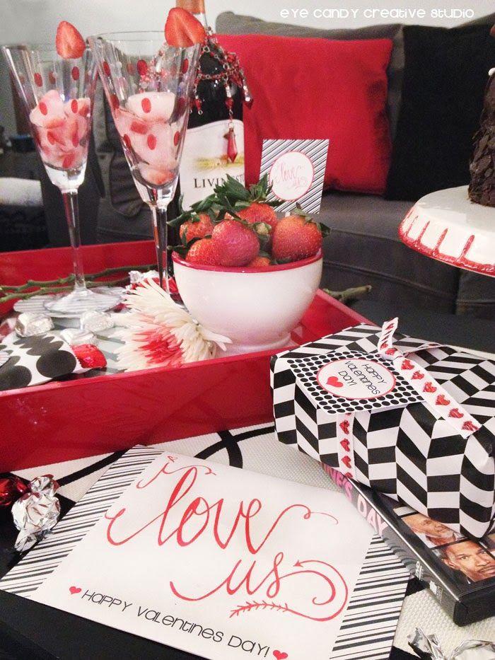 Ideas for Valentines Date Night In +  FREE Printables @eyecandycreate #freevalentines #datenightin