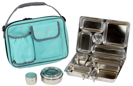 PlanetBox Rover - fantastic all stainless-steel lunch box for kids.  Our favorite option for parents who prefer to avoid plastic.