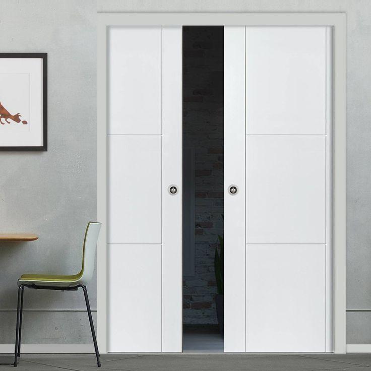 Double Pocket Mistral White sliding door system in three size widths. #pocketdoorpair #flushpocketdoors & 77 best Flush Pocket Door Pairs images on Pinterest | Pocket doors ... Pezcame.Com