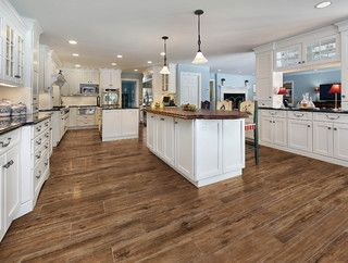 "Porcelain tile that looks like wood.  Marazzi American Heritage Saddle 9"" x 36"" Porcelain Tile - traditional - kitchen - by Ecomoso"
