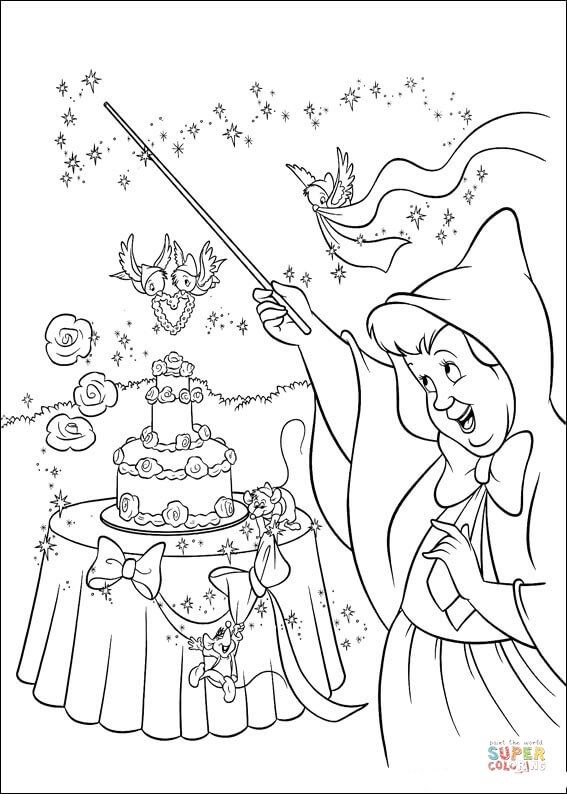 The Fairy Makes A Wedding Cake Super Coloring Cinderella Coloring Pages Fairy Coloring Pages Wedding Coloring Pages