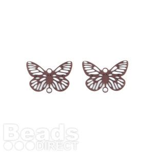 Chocolate Gold Plated Small Filigree Butterfly Connector 10x15mm Pk2